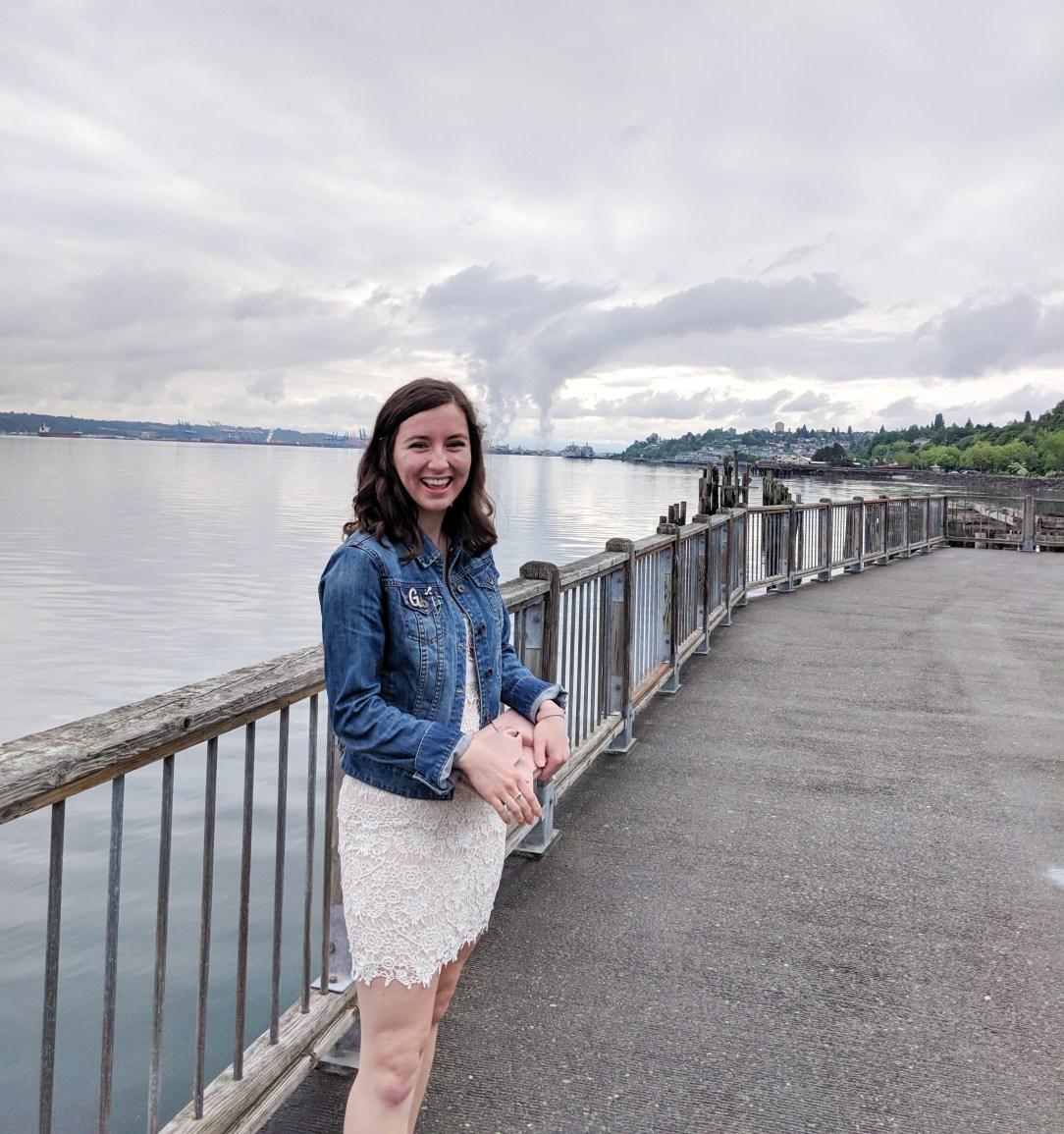 Tacoma, white lace dress, blue denim jacket