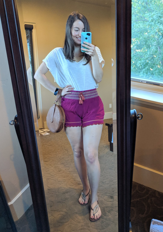 pink elastic shorts from Francesca's