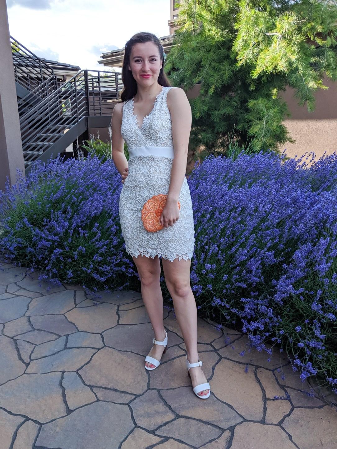 white lace dress, pink lipstick
