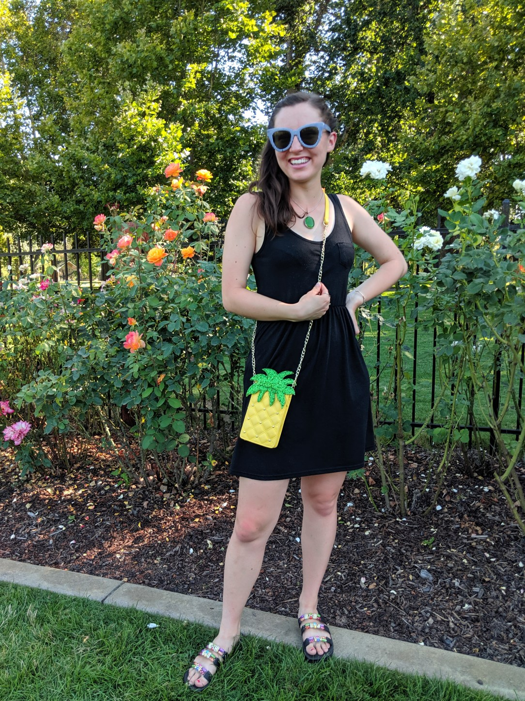 black dress, casual summer outfit, pineapple purse