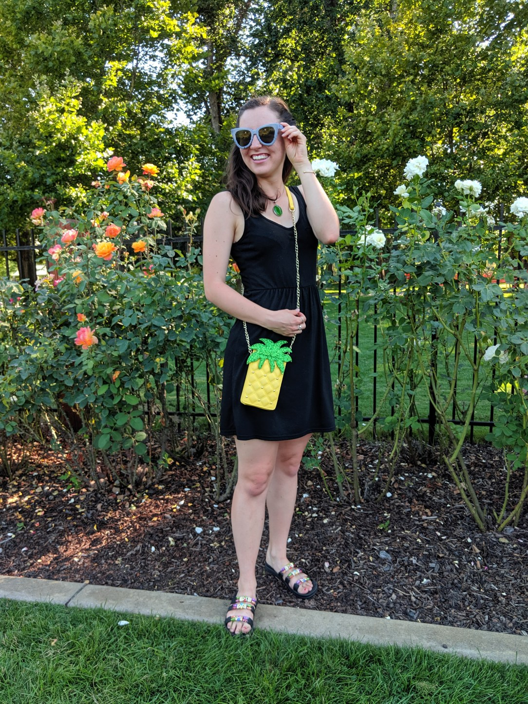 little black dress, pineapple purse, charming charlie accessories