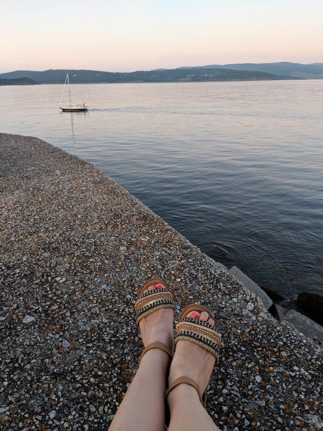 Finisterre, Spanish coast, DSW sandals, brown sandals