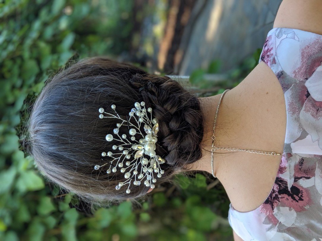braided updo, sparkly pearl hairpiece