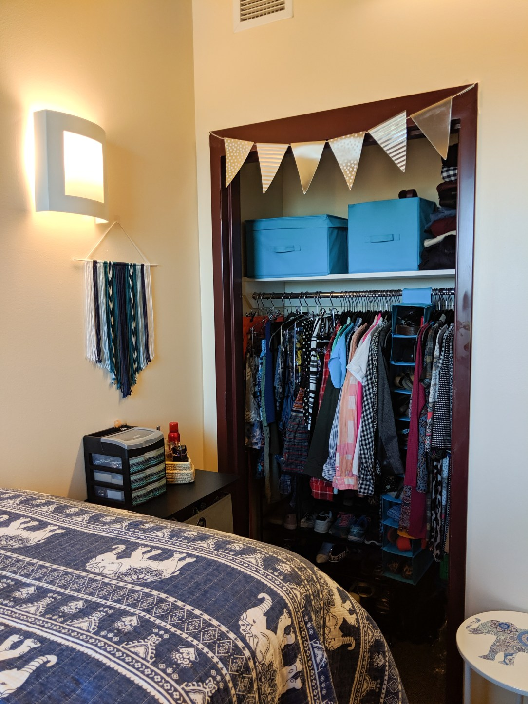 dorm room closet, closet organization