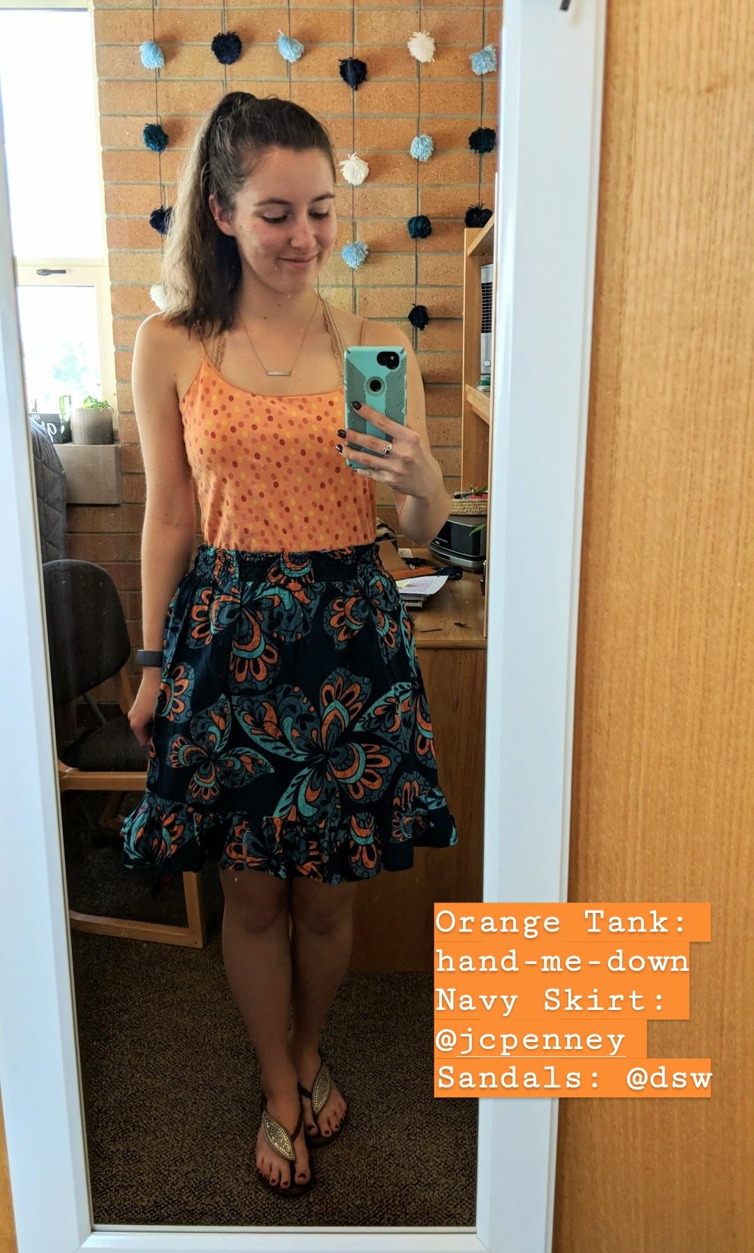 pattern mixing, print mixing, orange tank top, hand-me-down