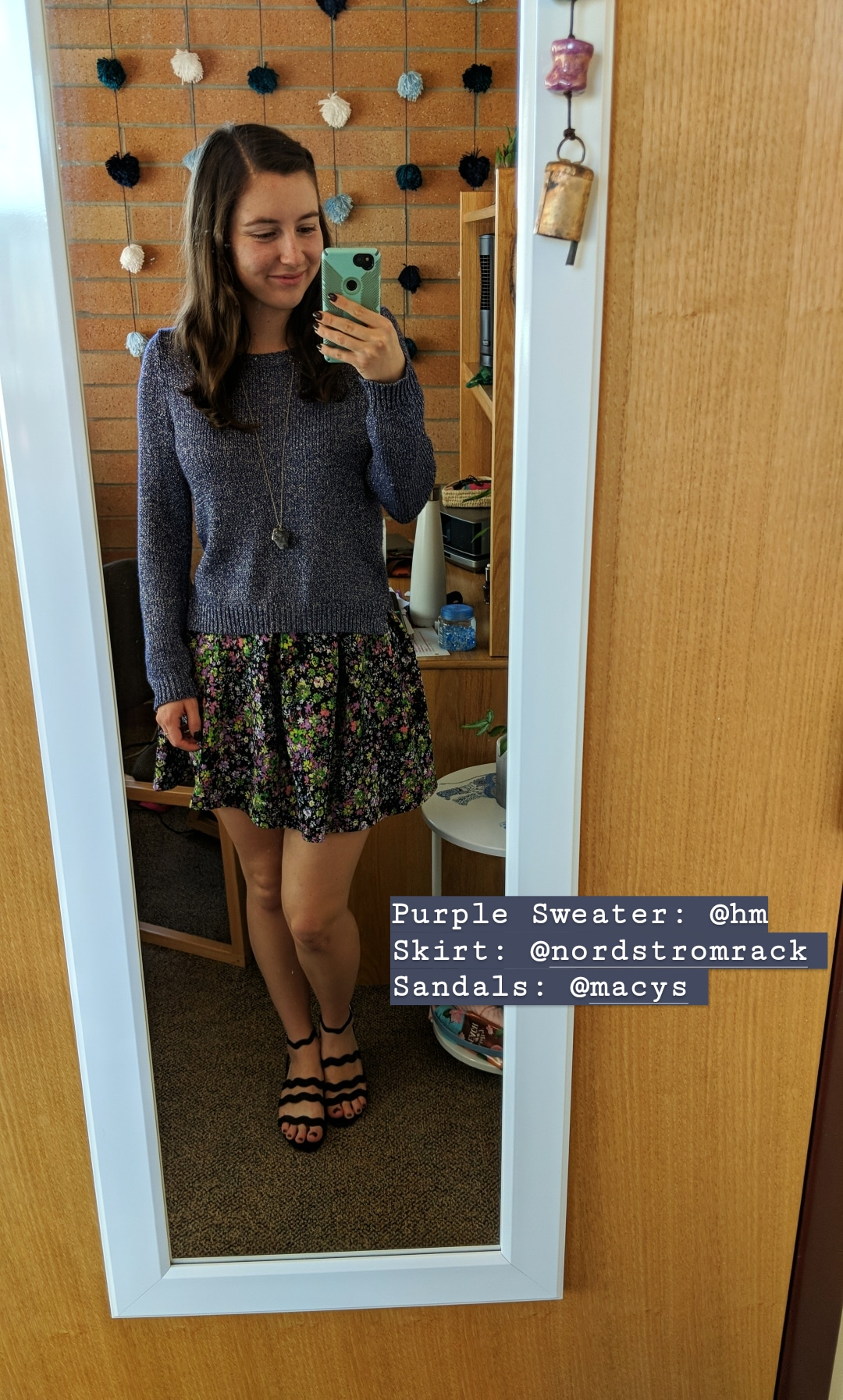 purple sparkly sweater, floral skirt, black sandals