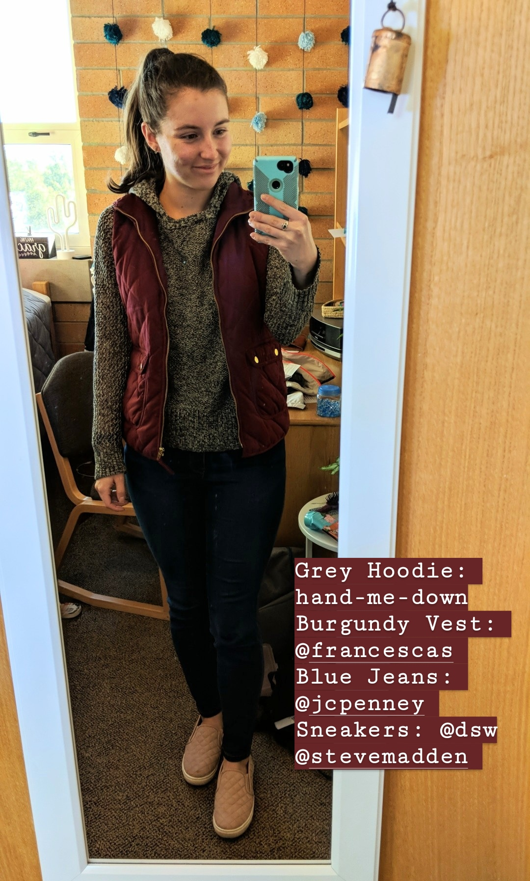 casual fall style, quilted vest, grey hoodie, sneakers, college style