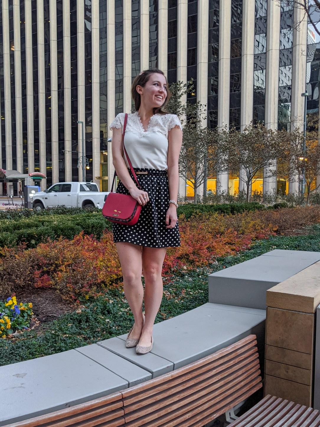 red purse, Kate Spade, polka dot skirt