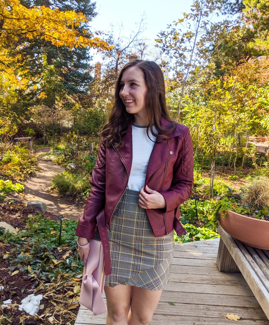 burgundy jacket, white sweater, plaid skirt, preppy outfit