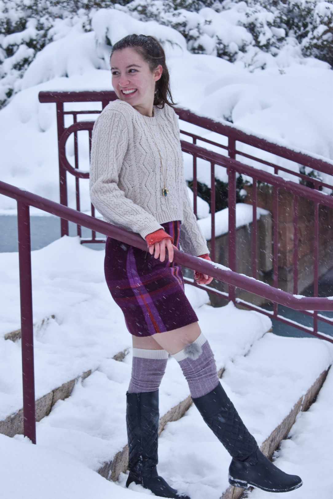 snow day, winter outfit, winter attire, pom pom knee socks