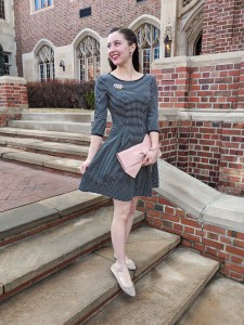 fit and flare dress, bow clutch, Stitch Fix, Nordstrom Rack