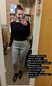 black sweater, houndstooth pants, black booties