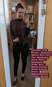 work outfit, mockneck top, t-strap heels