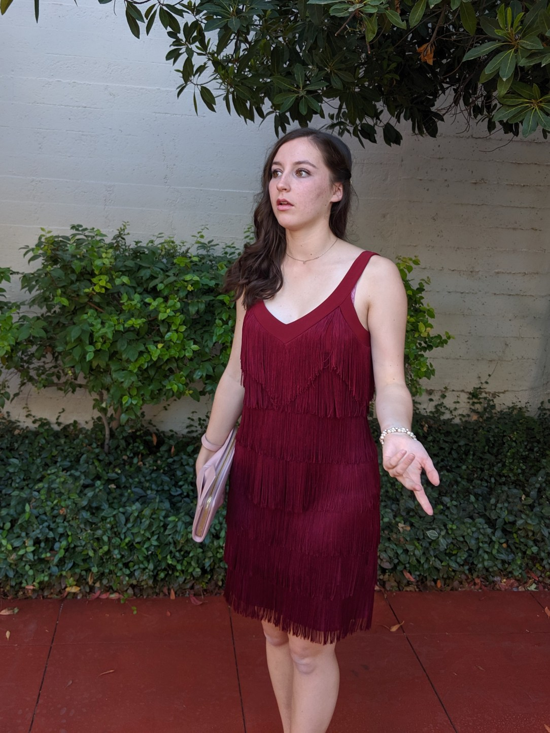college, college student, blooper photos, fringe dress
