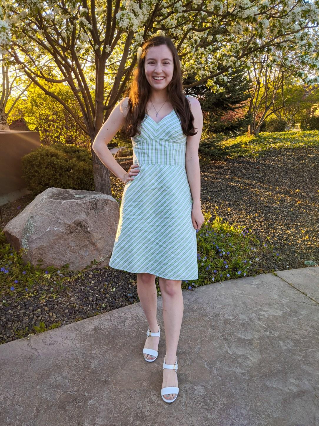 thrift shopping, green plaid dress, Loft dresses
