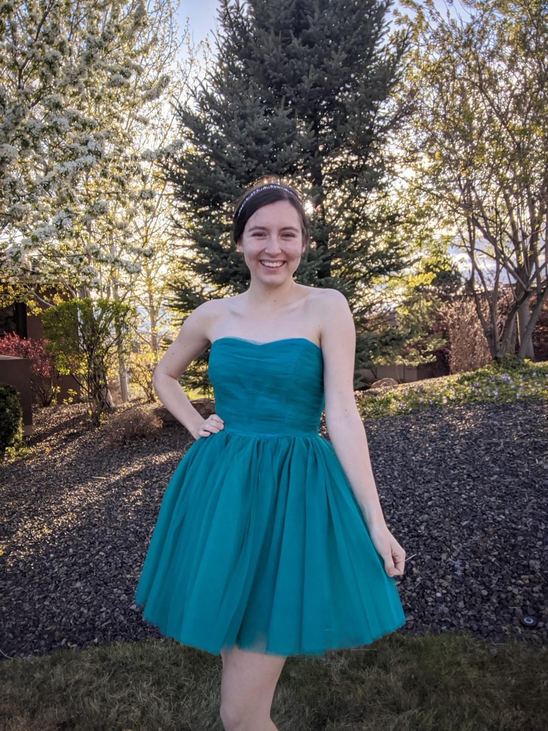 tulle dress, Betsey Johnson, turquoise dress, thrift shopping