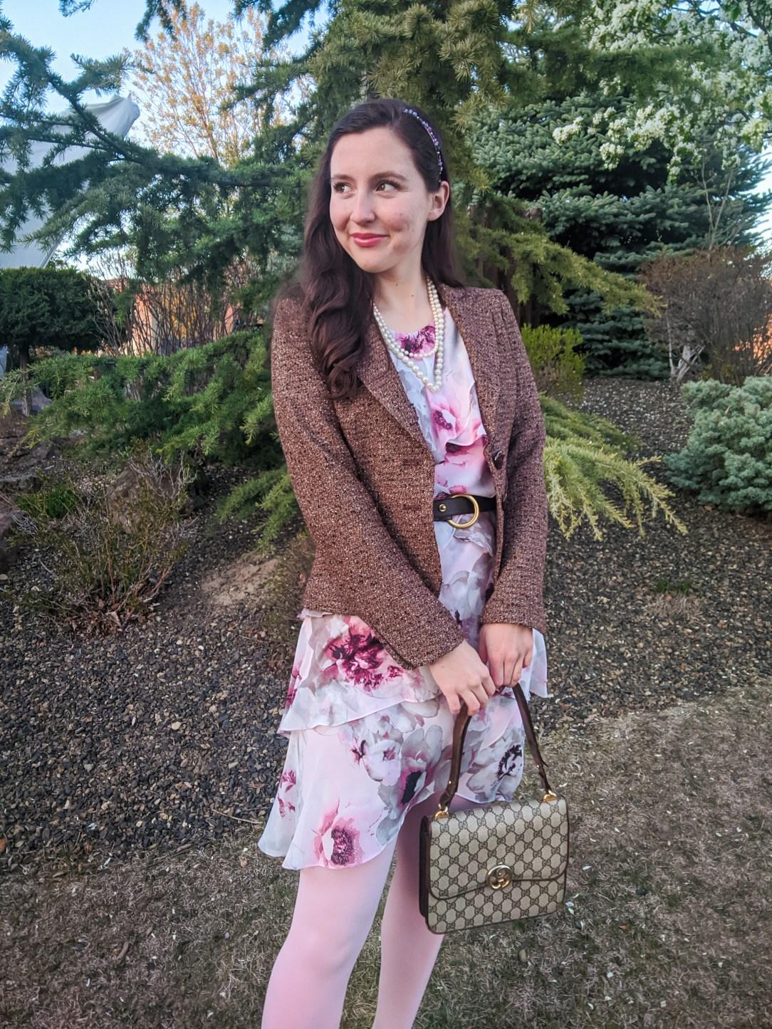 floral ruffle dress, pink tights, tweed blazer, thrift shopping