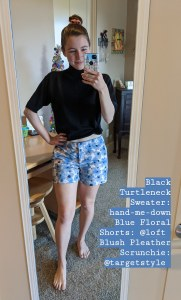 black turtle neck sweater, floral shorts, Loft shorts