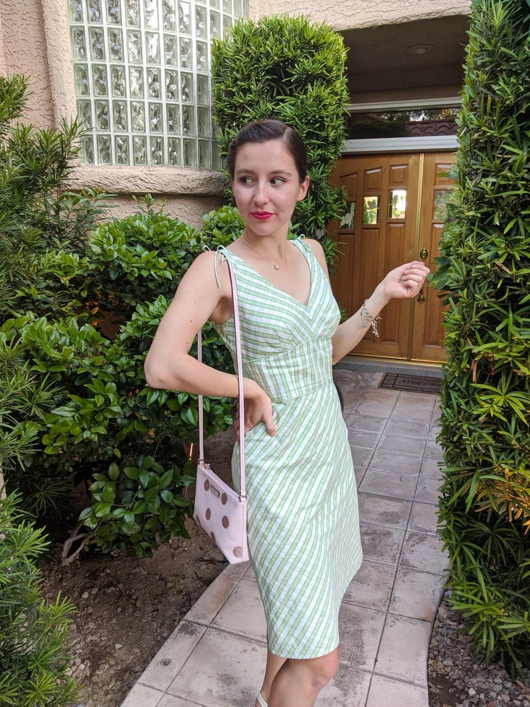pink-kate-spade-purse-green-dress-sundress