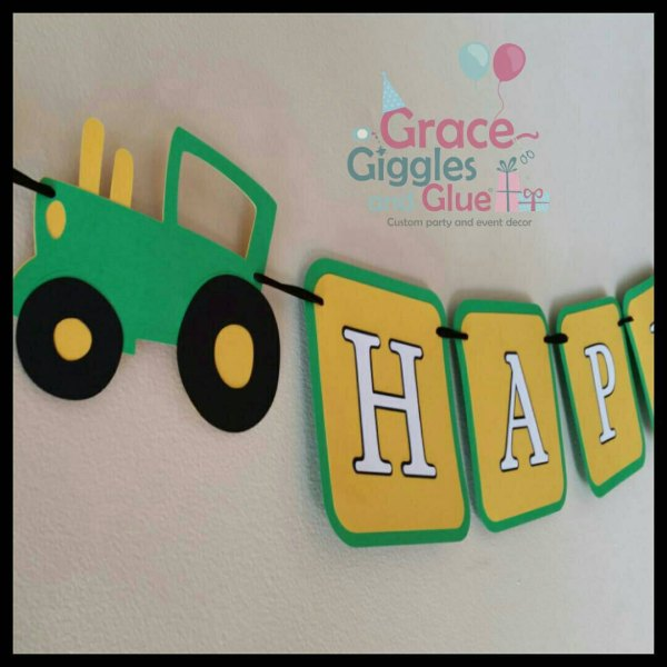 Tractor Themed Banner Birthday Grace Giggles And Glue