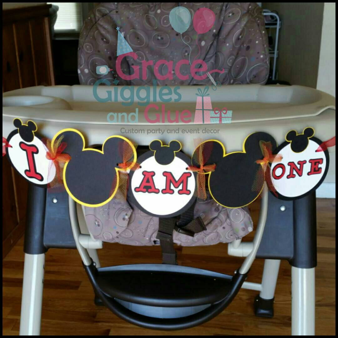 mickey mouse high chair decorations white plastic dining chairs tulle i am one highchair banner age