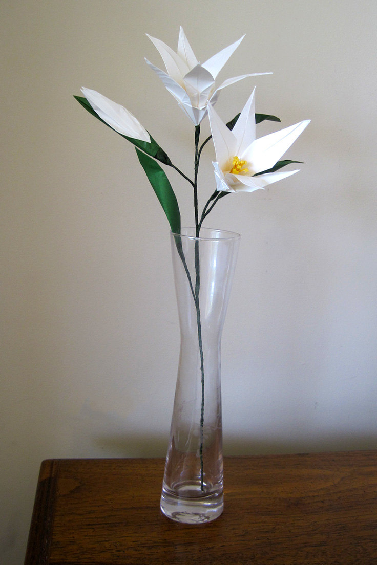 Easter Lily Origami Flower with Flower Bud  Graceincrease Custom Origami Art