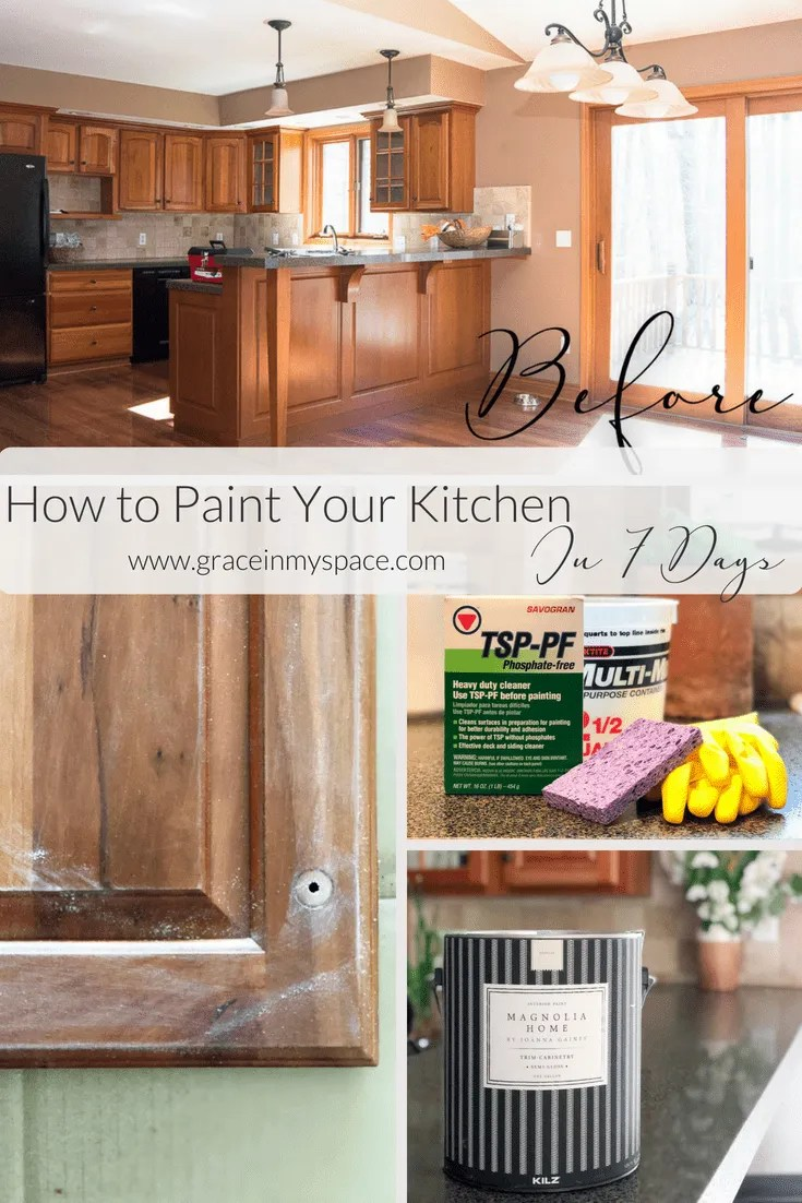 paint your kitchen cabinets in 7 days | paint steps | grace in my space