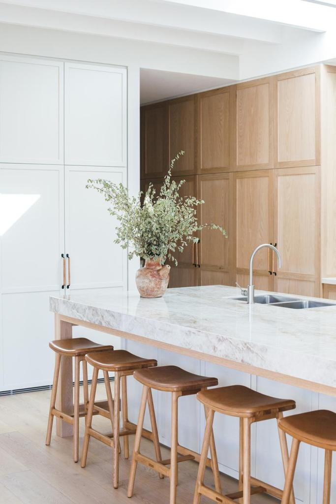 mix of white and warmer wood tones