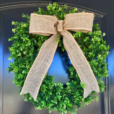 Boxwood Wreath with Burlap Bow