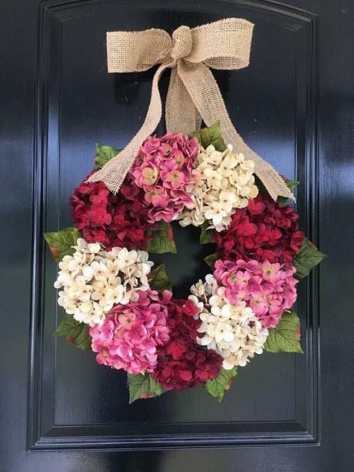 Spring Hydrangea Wreath for Front Door