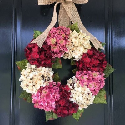 Spring Hydrangea Wreath for Front Door