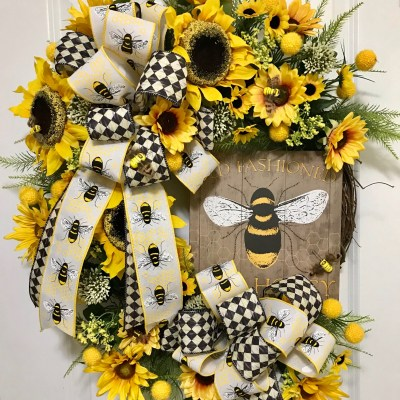 Bee Wreath by Grace Monroe Home