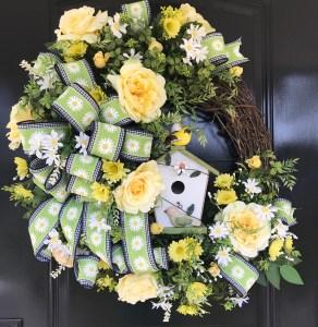 Front Door Wreath with Birdhouse