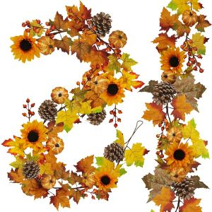 Fall Maple Leaf & Pumpkin Garland - Fall Decor Ideas