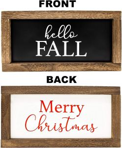 Reversible Hello Fall/Merry Christmas Farmhouse Wood Sign