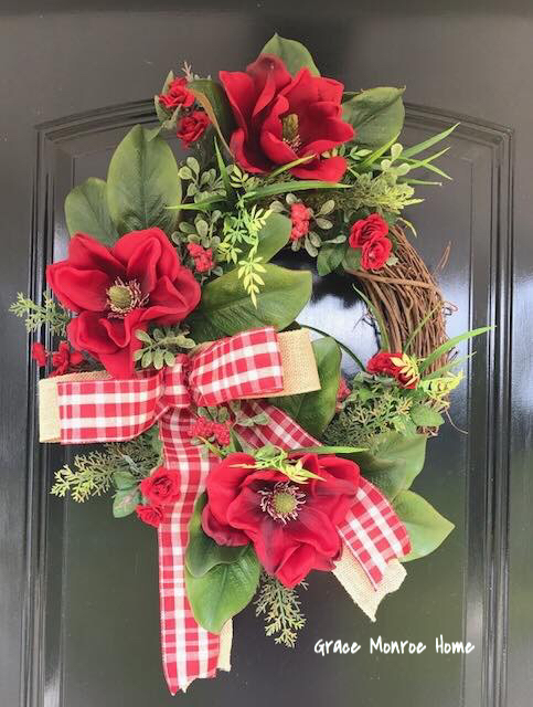 How to Make a WInter Magnolia Wreath for Your Front Door