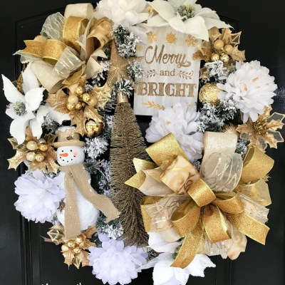 Gold and White Christmas Wreath