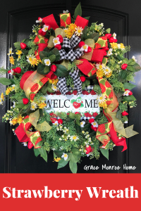 How to Make a Summer Strawberry Wreath #wreaths #diy #summerdiy #wreathmaking #summerwreath #strawberry #homedecor #doordecor