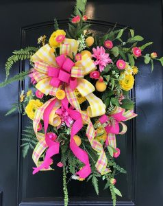 Pink & Yellow Summer Wreath with Lemons