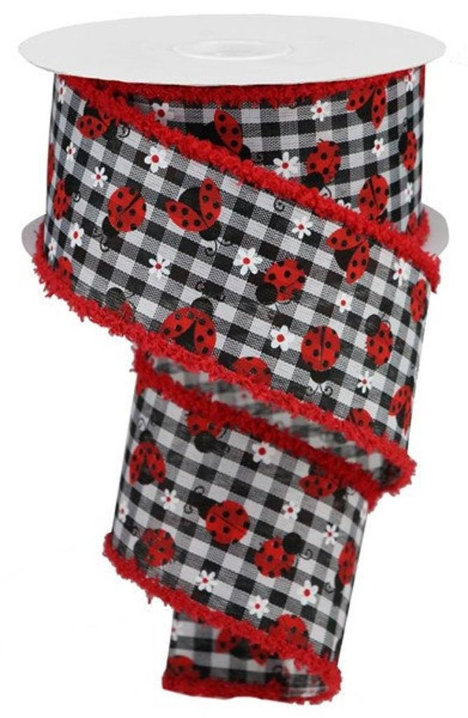 Black & White gingham ribbon with ladybugs!