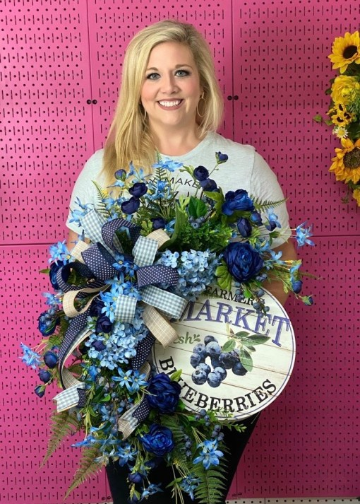 Summer Wreath with Realistic Blueberries