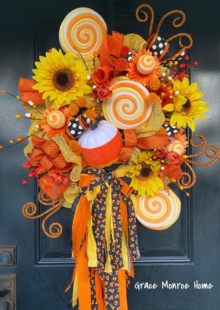 Yellow and orange candy corn wreath