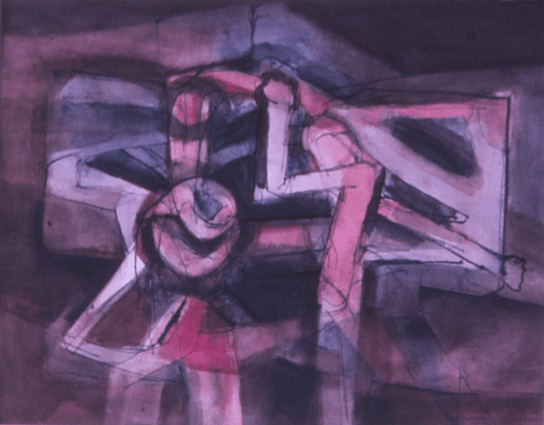 Grace Renzi : N° 157 : 1974, ink + watercolor, 25 x 30 cm.