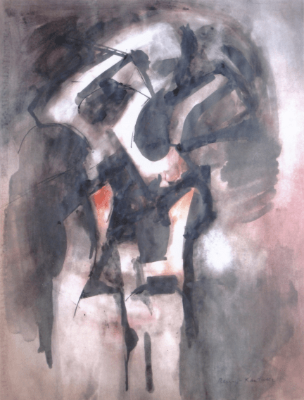 Grace Renzi : N° 160 : (1974), black ink and watercolor (or acrylic) on paper, 65 x 50 cm.
