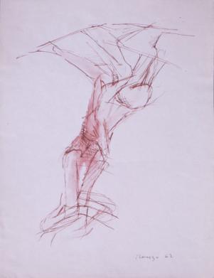Grace Renzi : N° 58 : 1962, ink + watercolor, 33 x 25 cm.