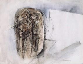 Grace Renzi : N° 73 : 1963, ink + watercolor on paper, 25 x 33 cm.