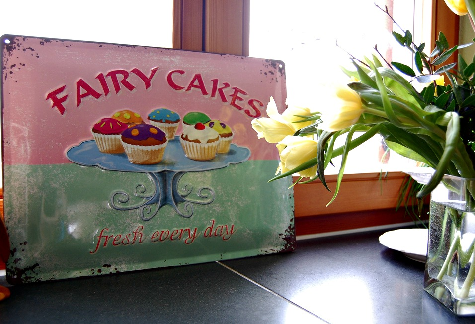 Vintage Fairy Cakes Pressed Tin Sign