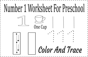number 1 worksheet preschool
