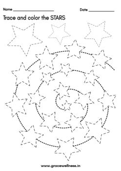 star tracing worksheet preschool free