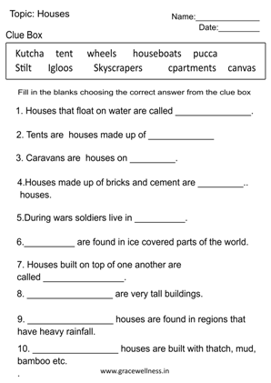 houses worksheet for grade 2 with answers pdf